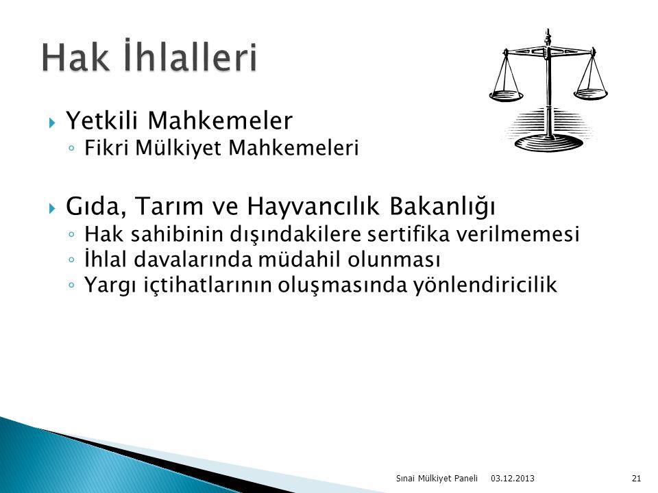  Yetkili Mahkemeler ◦ Fikri Mülkiyet Mahkemeleri  Gıda, Tarım ve Hayvancılık Bakanlığı ◦ Hak sahibinin dışındakilere sertifika verilmemesi ◦ İhlal d