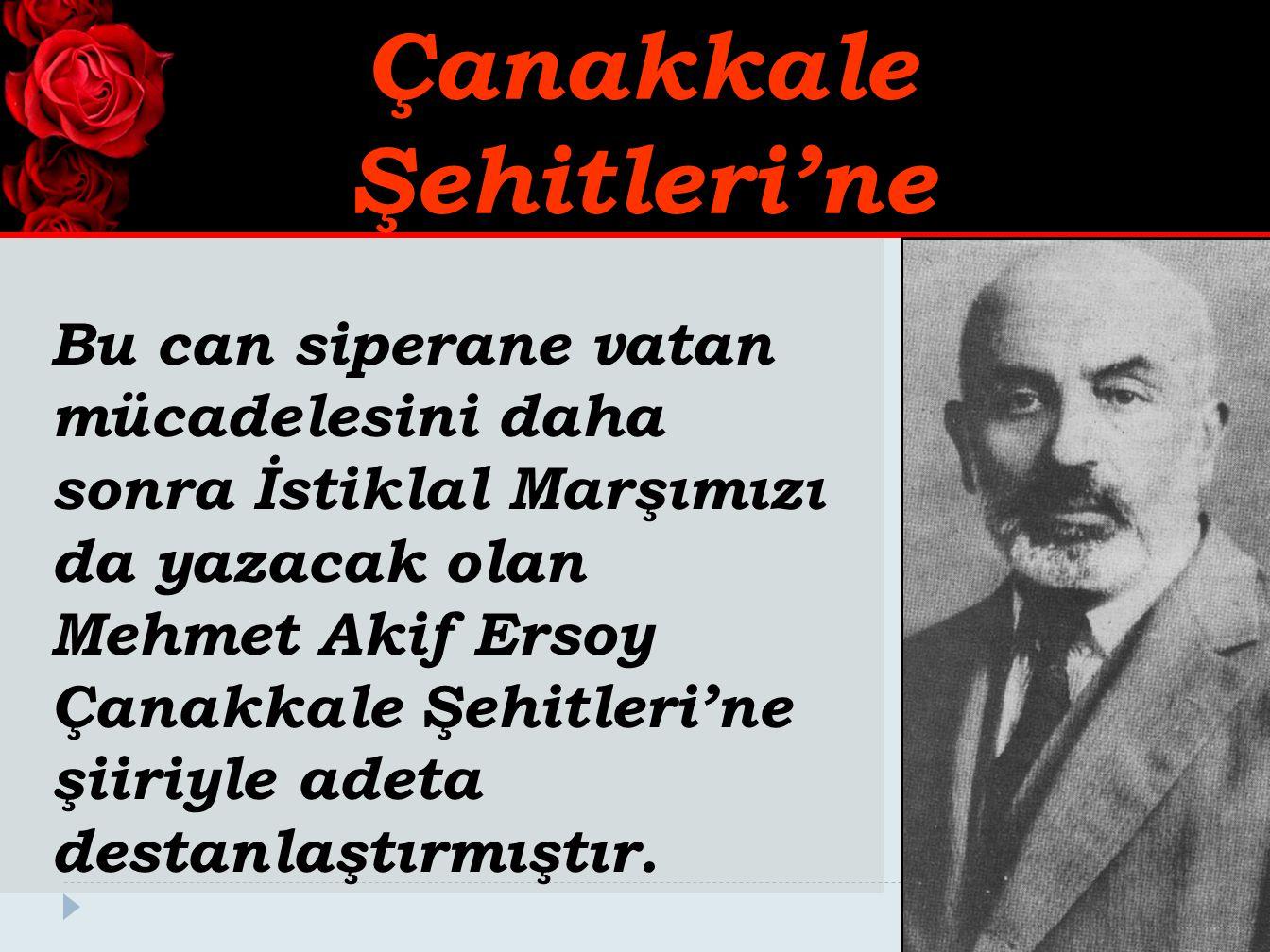 Bu can siperane vatan mücadelesini daha sonra İstiklal Marşımızı da yazacak olan Mehmet Akif Ersoy Çanakkale Şehitleri'ne şiiriyle adeta destanlaştırm