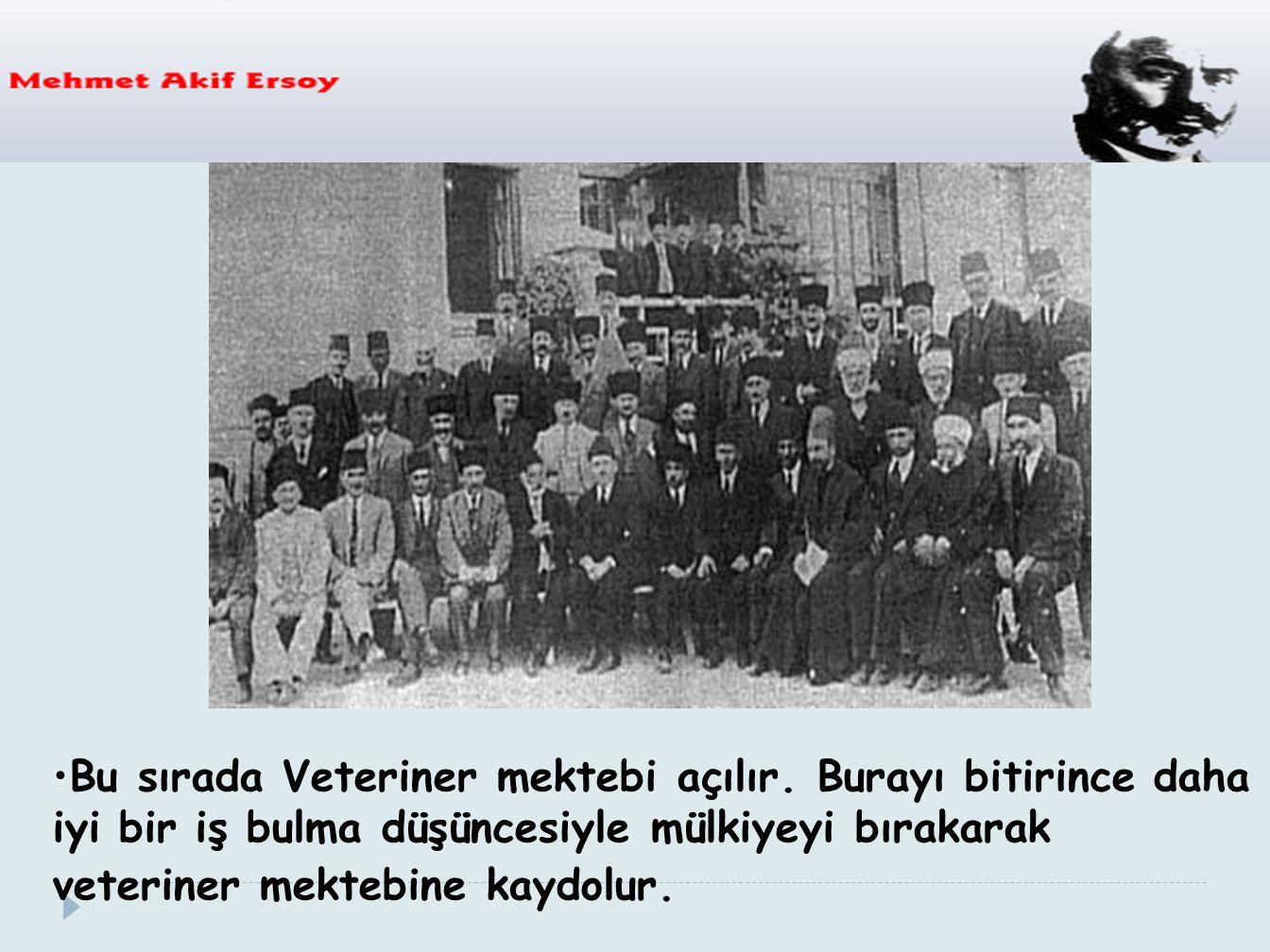  1889'da girdi ğ i Halkalı Mülkiye Baytar Mektebi'ni 1893'te birincilikle bitirdi ve bundan sonra hafız olur.