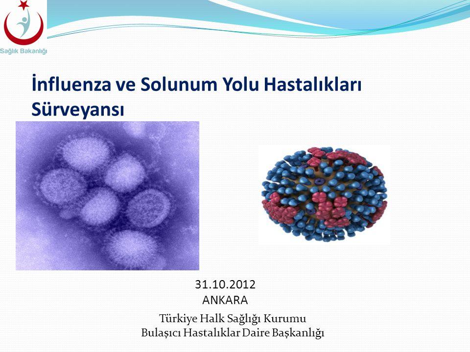 İnfluenza ve Solunum Yolu Hastalıkları Sürveyansı Türkiye Halk Sağlığı Kurumu Bulaşıcı Hastalıklar Daire Başkanlığı 31.10.2012 ANKARA