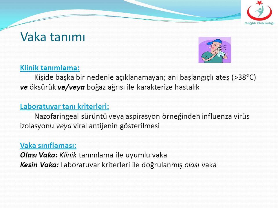 SezonÖrnek s:Influenza A / Alt-tipInfluenza B 2003-2004 204 91 (%100) / H3N2 0 2004-2005 458 86 (%86) / H1N1 ve H3N2 14 (%14) 2005-2006 1.317 168 (%89.4) / H3N2 20 (%10.6) 2006-2007 1.118 46 (%64.8) / H3N2 25 (%35.2) 2007-2008 524 111 (%68) / H1N1 52 (%31.9) 2008-2009 580 31 (%50) / H3N2 31 (%50) 2009-2010 3.038 1.507 (%93) / pdm H1N1 112 (%6.9) / H3N2 1 (%0.1) 2010-2011 1.301 204 (%34.8) / pdm H1N1 74 (%12.6) /H3N2 308 (%52.6) 2011-2012 1287 211 (%74.6) /H3N2 2 (%0.7) /pdm H1N1 70 (%24.7) Son Dokuz Yıla Ait Sonuçlar