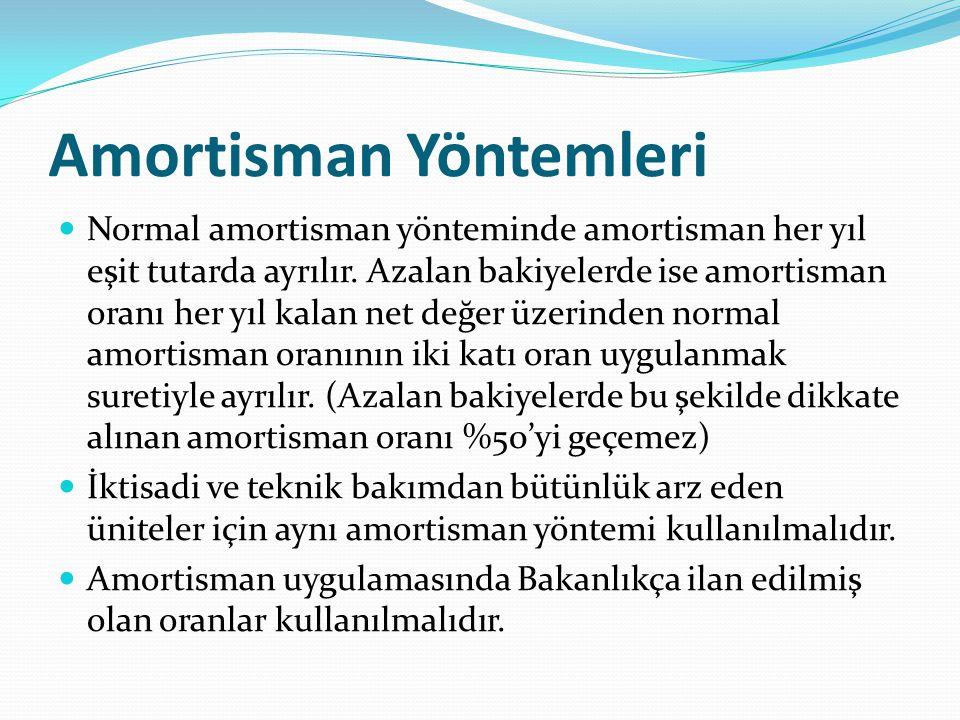 Amortisman Yöntemleri  Normal amortisman yönteminde amortisman her yıl eşit tutarda ayrılır. Azalan bakiyelerde ise amortisman oranı her yıl kalan ne