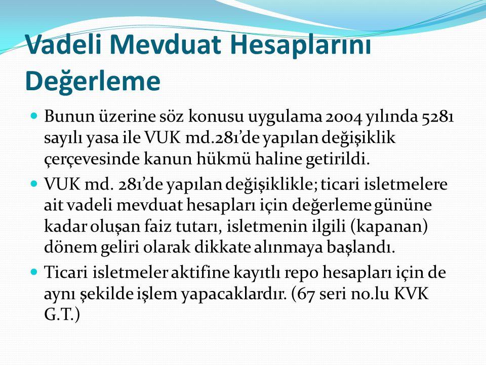 Vadeli Mevduat Hesaplarını Değerleme  Bunun üzerine söz konusu uygulama 2004 yılında 5281 sayılı yasa ile VUK md.281'de yapılan değişiklik çerçevesin