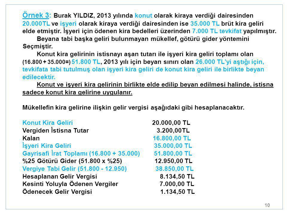 10 Örnek 3: Burak YILDIZ, 2013 yılında konut olarak kiraya verdiği dairesinden 20.000TL ve işyeri olarak kiraya verdiği dairesinden ise 35.000 TL brüt