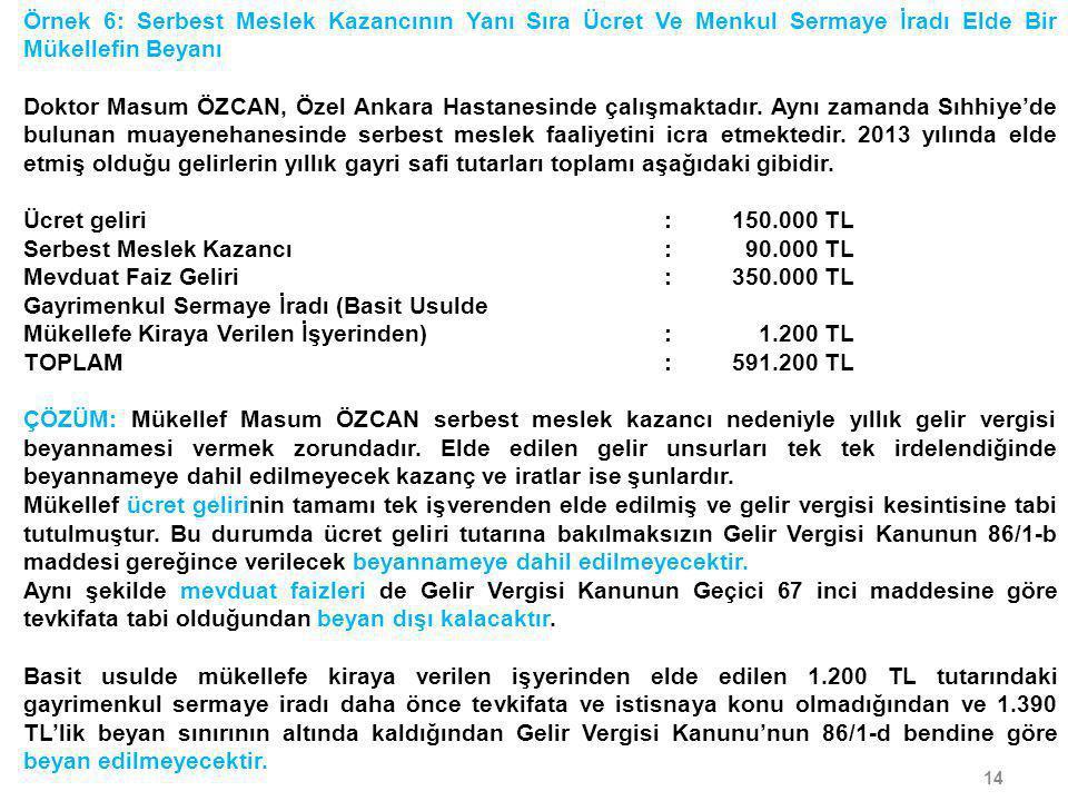14 Örnek 6: Serbest Meslek Kazancının Yanı Sıra Ücret Ve Menkul Sermaye İradı Elde Bir Mükellefin Beyanı Doktor Masum ÖZCAN, Özel Ankara Hastanesinde