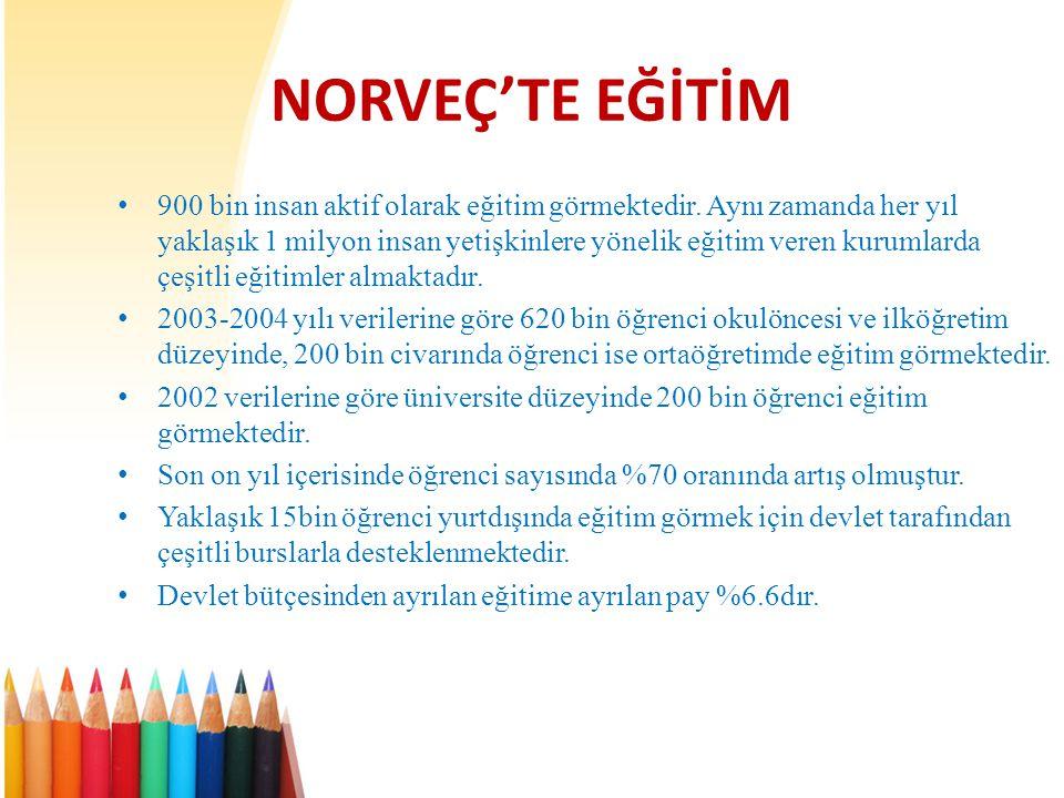NORVEÇ'TE EĞİTİM • 900 bin insan aktif olarak eğitim görmektedir.