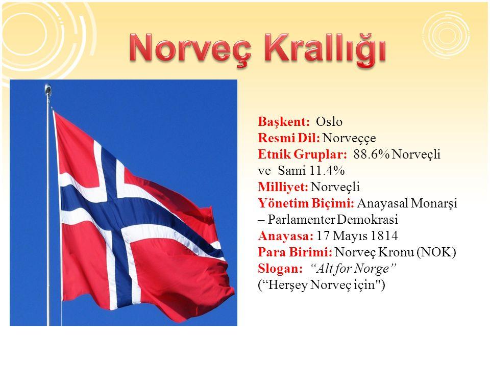 Başkent: Oslo Resmi Dil: Norveççe Etnik Gruplar: 88.6% Norveçli ve Sami 11.4% Milliyet: Norveçli Yönetim Biçimi: Anayasal Monarşi – Parlamenter Demokrasi Anayasa: 17 Mayıs 1814 Para Birimi: Norveç Kronu (NOK) Slogan: Alt for Norge ( Herşey Norveç için )