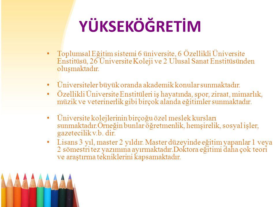 YÜKSEKÖĞRETİM • Toplumsal Eğitim sistemi 6 üniversite, 6 Özellikli Üniversite Enstitüsü, 26 Üniversite Koleji ve 2 Ulusal Sanat Enstitüsünden oluşmaktadır.