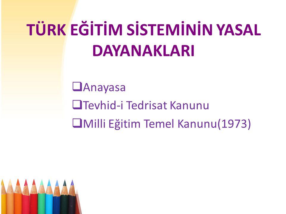 TÜRK EĞİTİM SİSTEMİNİN YASAL DAYANAKLARI  Anayasa  Tevhid-i Tedrisat Kanunu  Milli Eğitim Temel Kanunu(1973)