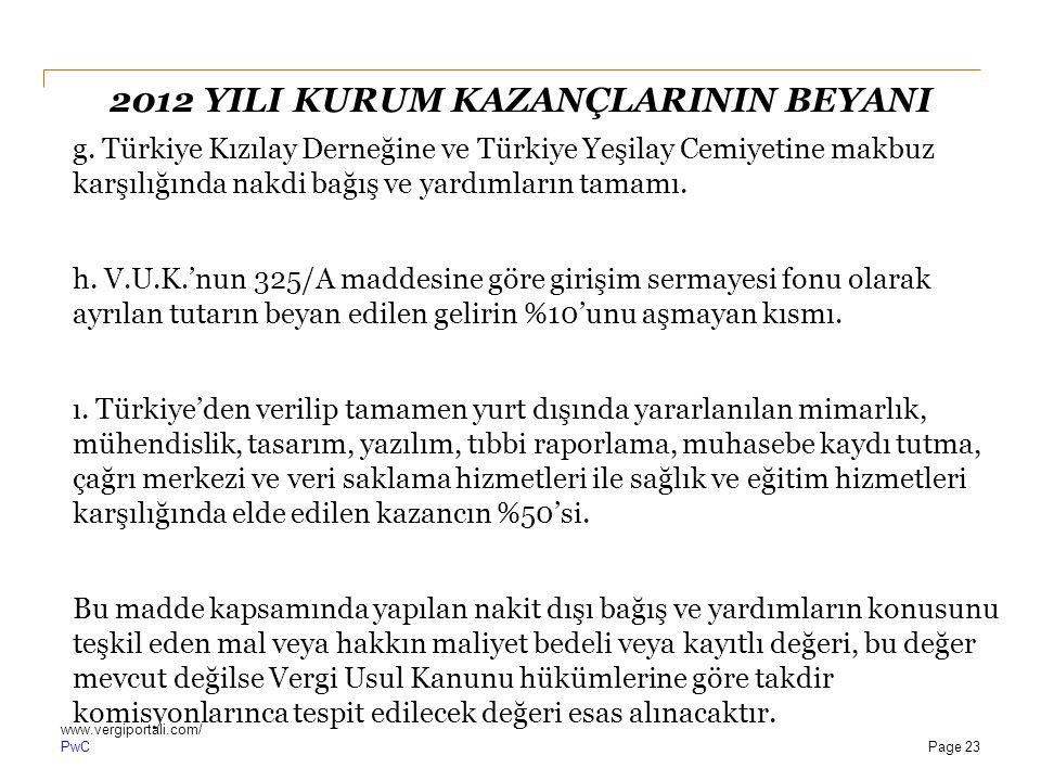 PwC 2012 YILI KURUM KAZANÇLARININ BEYANI g. Türkiye Kızılay Derneğine ve Türkiye Yeşilay Cemiyetine makbuz karşılığında nakdi bağış ve yardımların tam