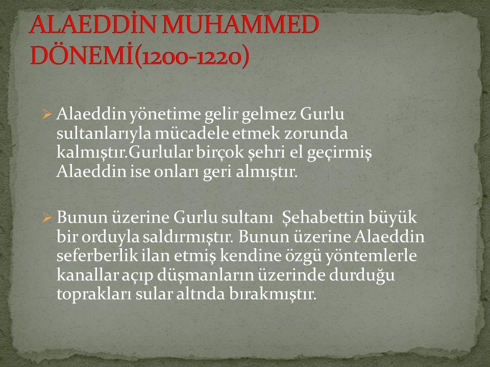  Alaeddin yönetime gelir gelmez Gurlu sultanlarıyla mücadele etmek zorunda kalmıştır.Gurlular birçok şehri el geçirmiş Alaeddin ise onları geri almıştır.