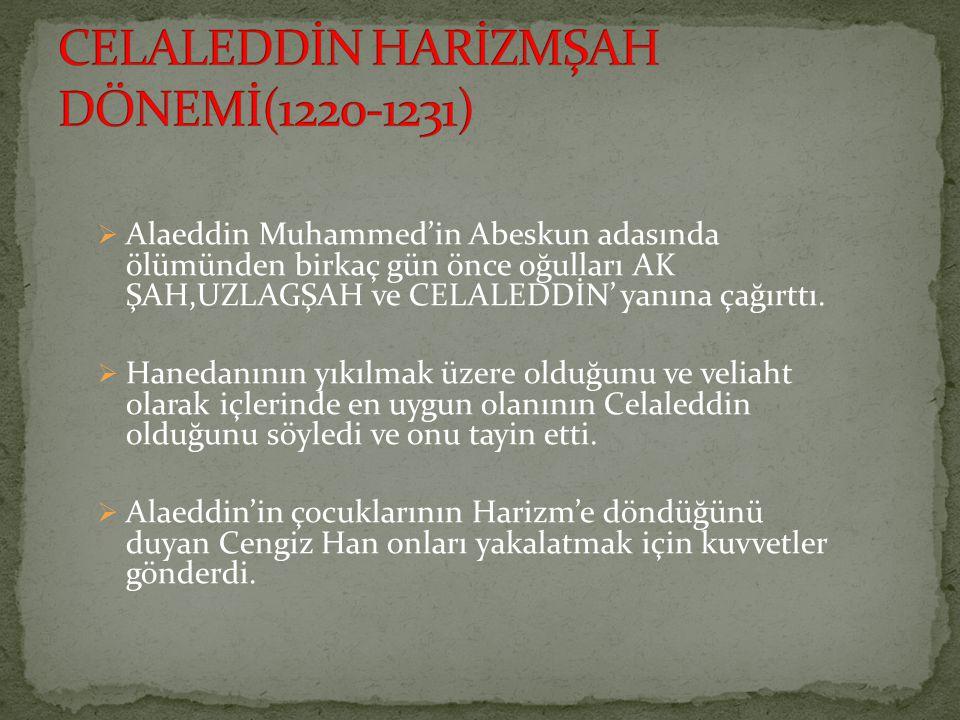  Alaeddin Muhammed'in Abeskun adasında ölümünden birkaç gün önce oğulları AK ŞAH,UZLAGŞAH ve CELALEDDİN' yanına çağırttı.  Hanedanının yıkılmak üzer