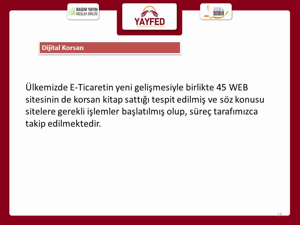 Ülkemizde E-Ticaretin yeni gelişmesiyle birlikte 45 WEB sitesinin de korsan kitap sattığı tespit edilmiş ve söz konusu sitelere gerekli işlemler başla