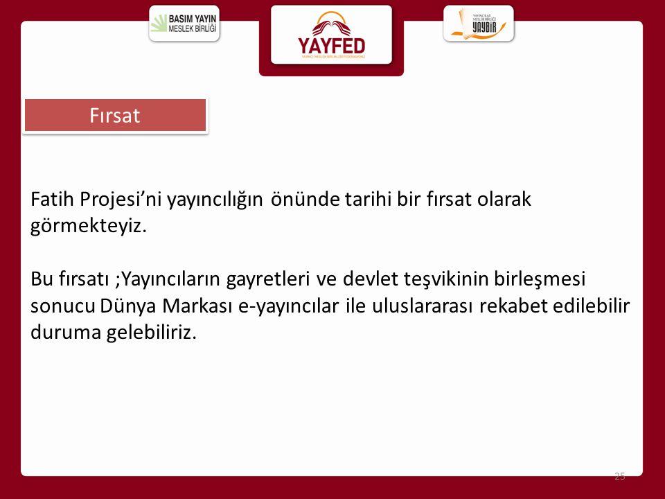 Fırsat 25 Fatih Projesi'ni yayıncılığın önünde tarihi bir fırsat olarak görmekteyiz. Bu fırsatı ;Yayıncıların gayretleri ve devlet teşvikinin birleşme