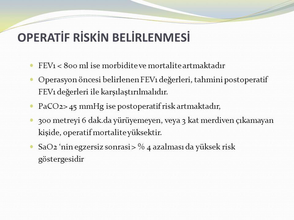 OPERATİF RİSKİN BELİRLENMESİ  FEV1 < 800 ml ise morbidite ve mortalite artmaktadır  Operasyon öncesi belirlenen FEV1 değerleri, tahmini postoperatif FEV1 değerleri ile karşılaştırılmalıdır.