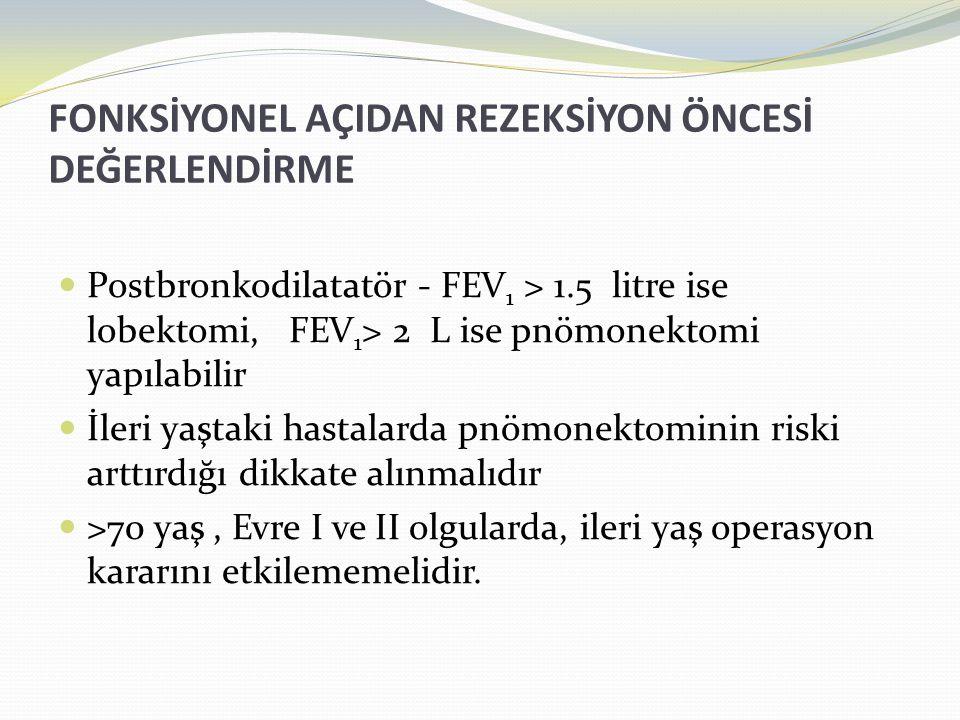 FONKSİYONEL AÇIDAN REZEKSİYON ÖNCESİ DEĞERLENDİRME  Postbronkodilatatör - FEV 1 > 1.5 litre ise lobektomi, FEV 1 > 2 L ise pnömonektomi yapılabilir  İleri yaştaki hastalarda pnömonektominin riski arttırdığı dikkate alınmalıdır  >70 yaş, Evre I ve II olgularda, ileri yaş operasyon kararını etkilememelidir.