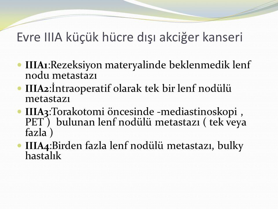 Evre IIIA küçük hücre dışı akciğer kanseri  IIIA1 :Rezeksiyon materyalinde beklenmedik lenf nodu metastazı  IIIA2 :İntraoperatif olarak tek bir lenf nodülü metastazı  IIIA3 :Torakotomi öncesinde -mediastinoskopi, PET ) bulunan lenf nodülü metastazı ( tek veya fazla )  IIIA4 :Birden fazla lenf nodülü metastazı, bulky hastalık