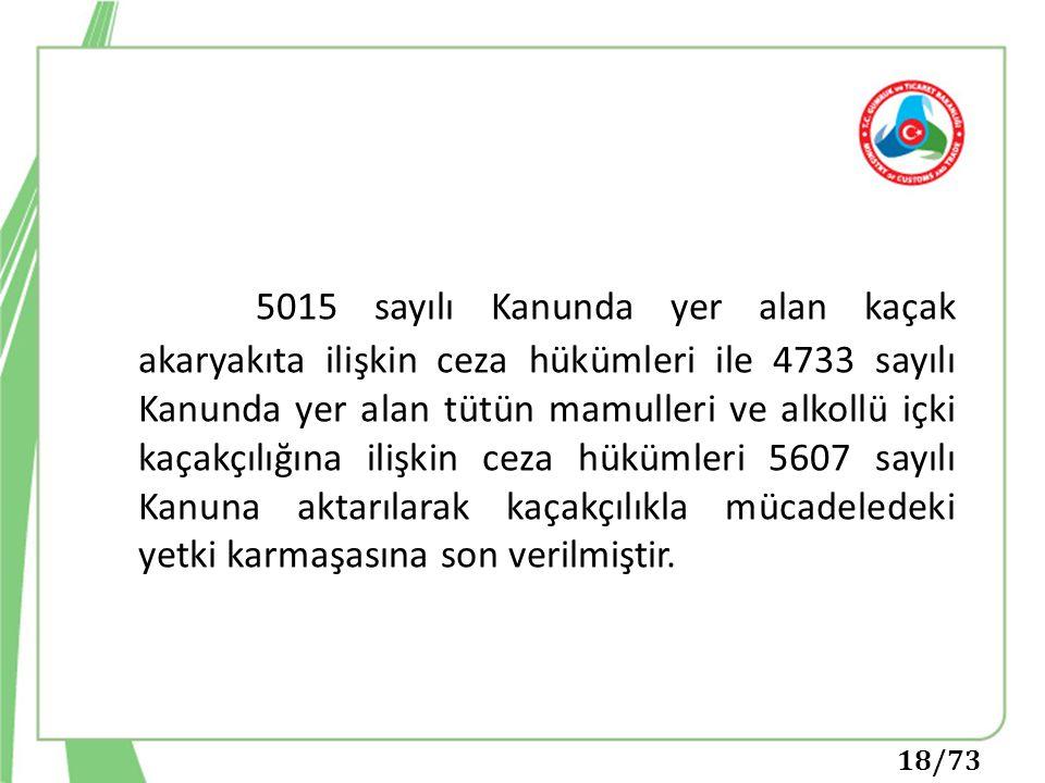 5015 sayılı Kanunda yer alan kaçak akaryakıta ilişkin ceza hükümleri ile 4733 sayılı Kanunda yer alan tütün mamulleri ve alkollü içki kaçakçılığına il
