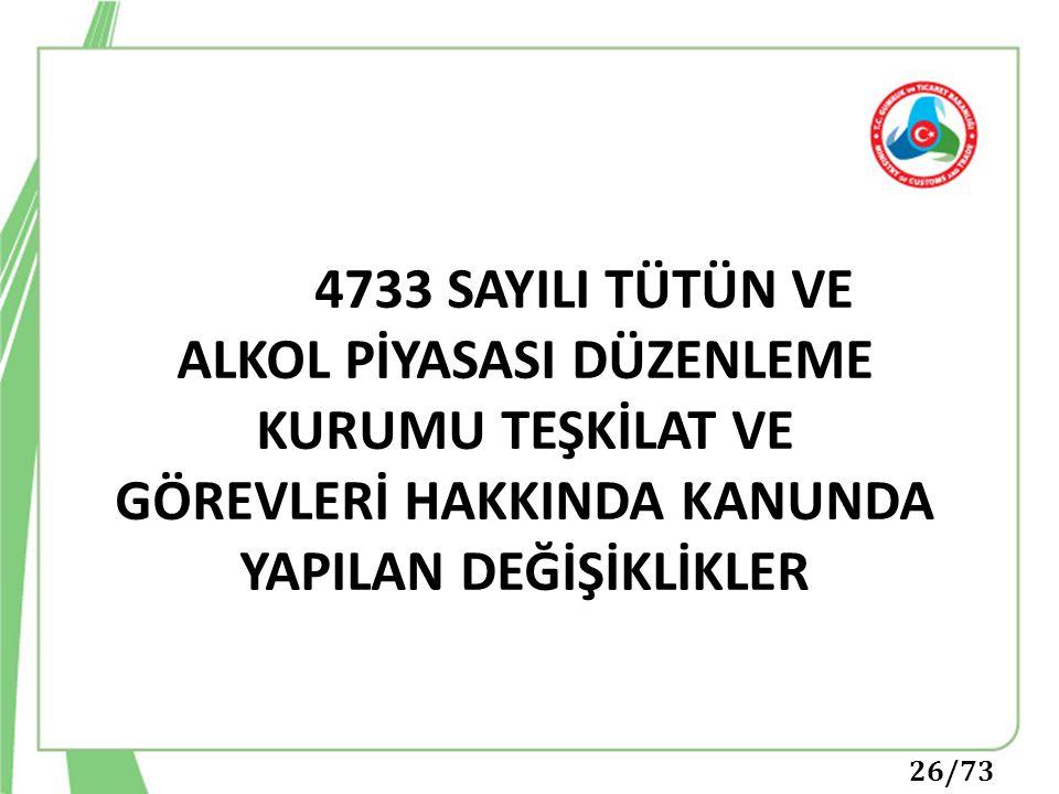 26/73 4733 SAYILI TÜTÜN VE ALKOL PİYASASI DÜZENLEME KURUMU TEŞKİLAT VE GÖREVLERİ HAKKINDA KANUNDA YAPILAN DEĞİŞİKLİKLER