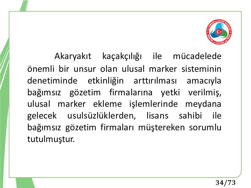 34/73 Akaryakıt kaçakçılığı ile mücadelede önemli bir unsur olan ulusal marker sisteminin denetiminde etkinliğin arttırılması amacıyla bağımsız gözeti