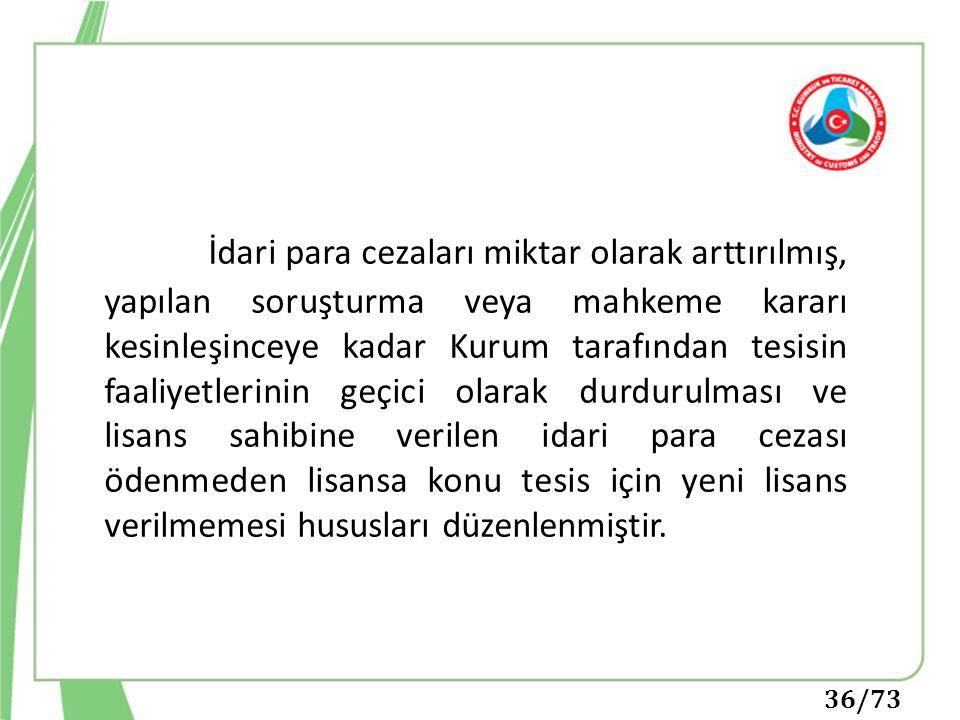 36/73 İdari para cezaları miktar olarak arttırılmış, yapılan soruşturma veya mahkeme kararı kesinleşinceye kadar Kurum tarafından tesisin faaliyetleri
