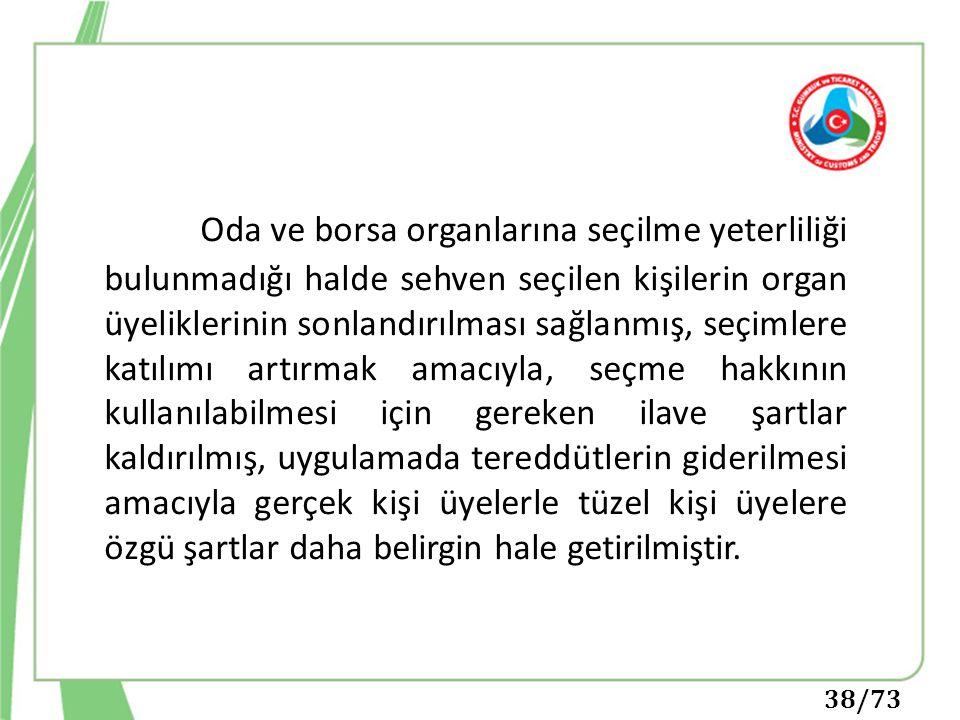 38/73 Oda ve borsa organlarına seçilme yeterliliği bulunmadığı halde sehven seçilen kişilerin organ üyeliklerinin sonlandırılması sağlanmış, seçimlere