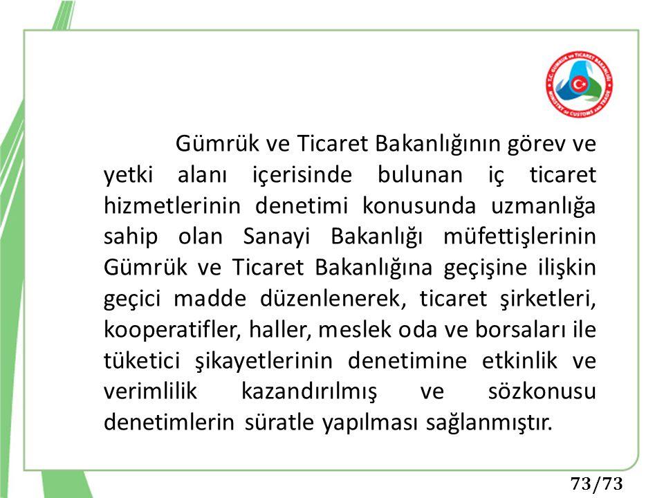 73/73 Gümrük ve Ticaret Bakanlığının görev ve yetki alanı içerisinde bulunan iç ticaret hizmetlerinin denetimi konusunda uzmanlığa sahip olan Sanayi B
