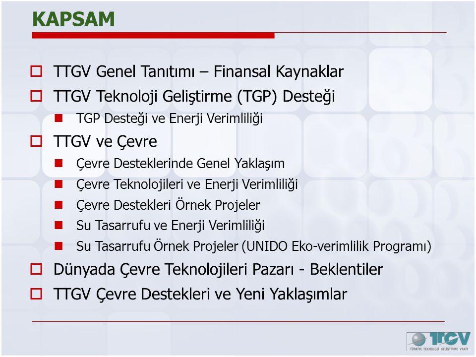 KAPSAM  TTGV Genel Tanıtımı – Finansal Kaynaklar  TTGV Teknoloji Geliştirme (TGP) Desteği  TGP Desteği ve Enerji Verimliliği  TTGV ve Çevre  Çevr