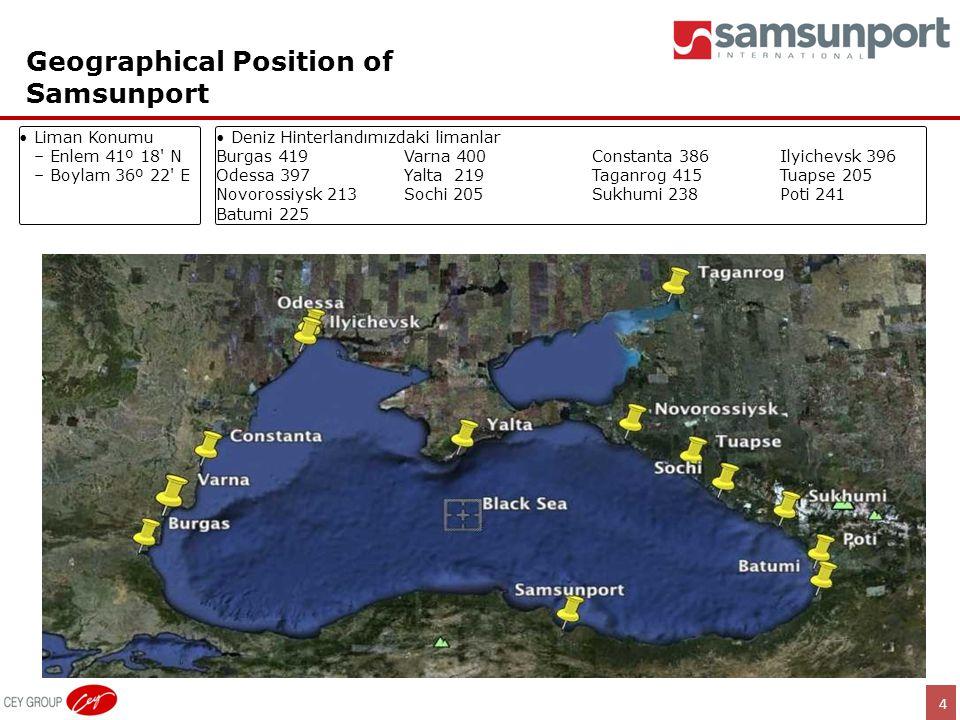 4 Geographical Position of Samsunport •Liman Konumu –Enlem 41º 18' N –Boylam 36º 22' E •Deniz Hinterlandımızdaki limanlar Burgas 419Varna 400Constanta