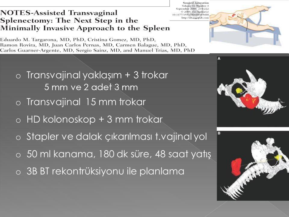 o Transvajinal yaklaşım + 3 trokar 5 mm ve 2 adet 3 mm o Transvajinal 15 mm trokar o HD kolonoskop + 3 mm trokar o Stapler ve dalak çıkarılması t.vaji
