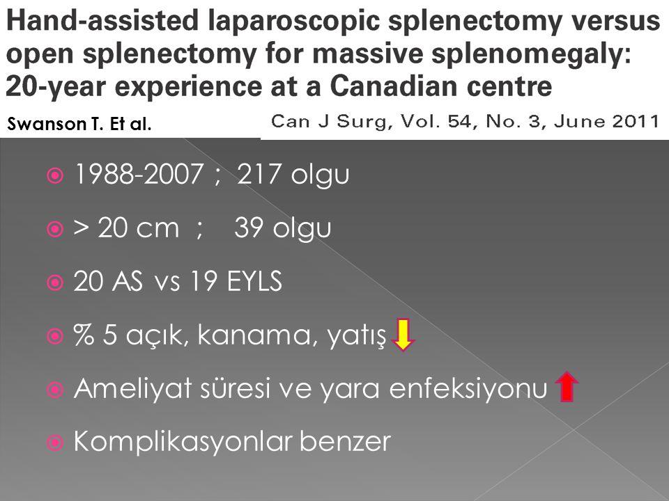  1988-2007 ; 217 olgu  > 20 cm ; 39 olgu  20 AS vs 19 EYLS  % 5 açık, kanama, yatış  Ameliyat süresi ve yara enfeksiyonu  Komplikasyonlar benzer