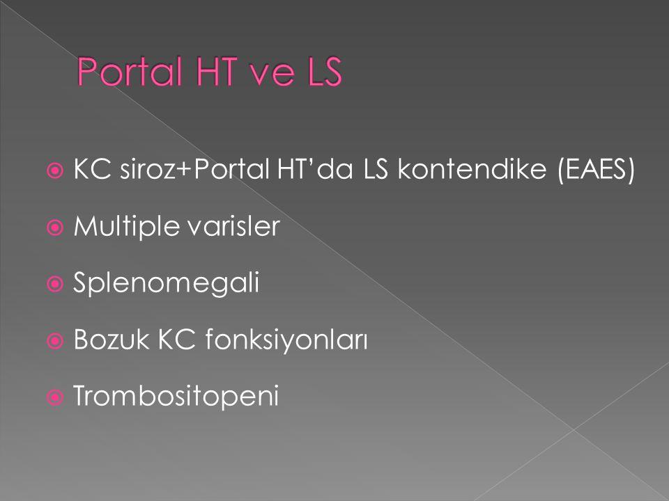  KC siroz+Portal HT'da LS kontendike (EAES)  Multiple varisler  Splenomegali  Bozuk KC fonksiyonları  Trombositopeni