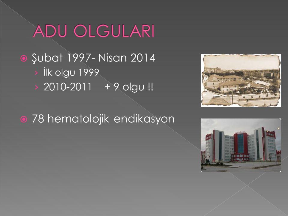  Şubat 1997- Nisan 2014 › İlk olgu 1999 › 2010-2011 + 9 olgu !!  78 hematolojik endikasyon