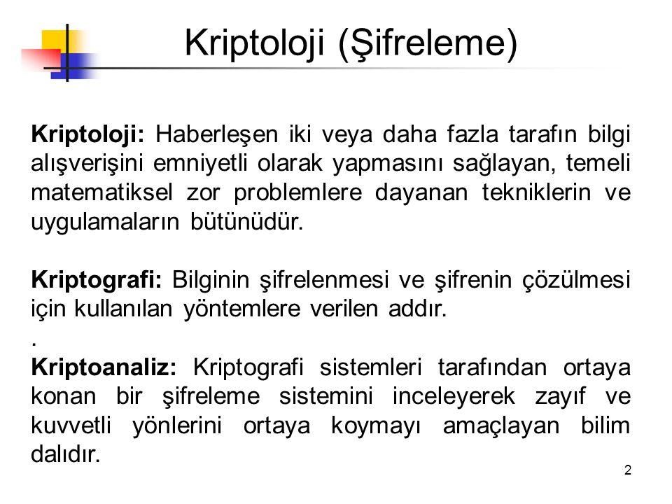 2 Kriptoloji (Şifreleme) Kriptoloji: Haberleşen iki veya daha fazla tarafın bilgi alışverişini emniyetli olarak yapmasını sağlayan, temeli matematikse