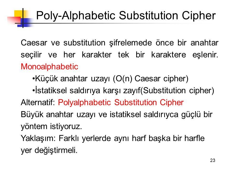 23 Poly-Alphabetic Substitution Cipher Caesar ve substitution şifrelemede önce bir anahtar seçilir ve her karakter tek bir karaktere eşlenir. Monoalph