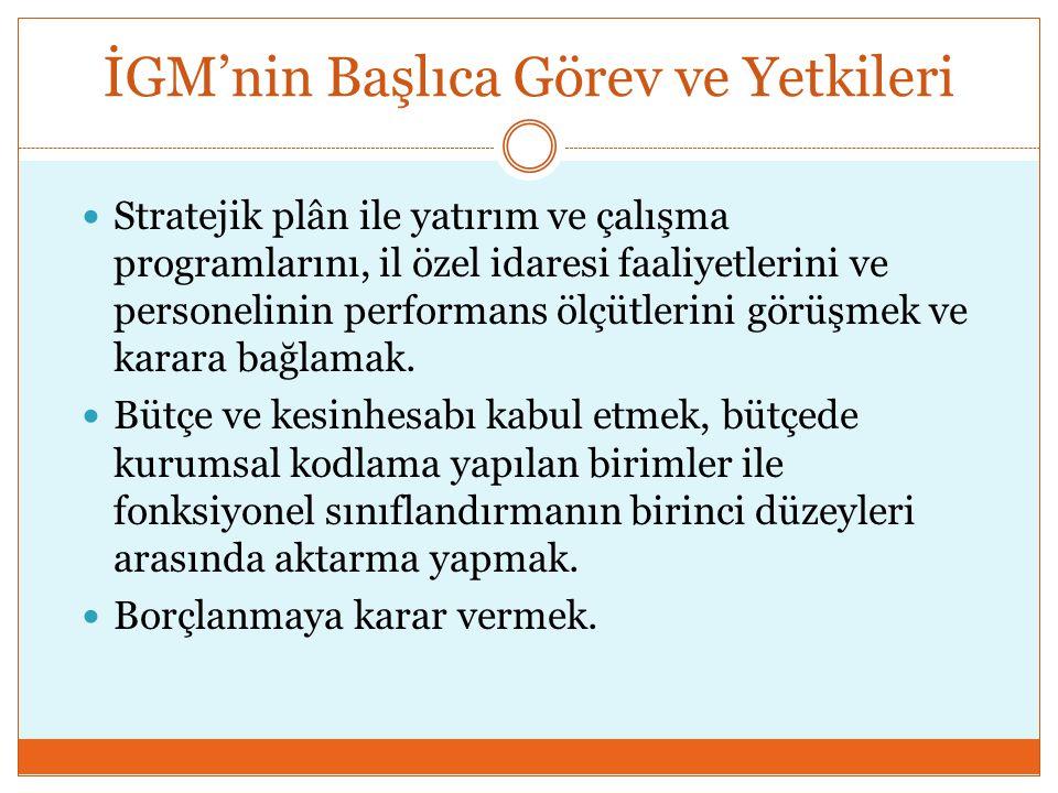 İGM'nin Başlıca Görev ve Yetkileri  Stratejik plân ile yatırım ve çalışma programlarını, il özel idaresi faaliyetlerini ve personelinin performans öl