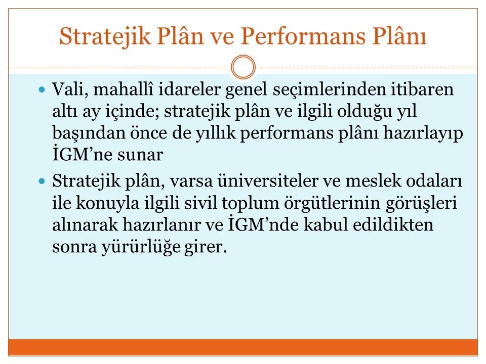 Stratejik Plân ve Performans Plânı  Vali, mahallî idareler genel seçimlerinden itibaren altı ay içinde; stratejik plân ve ilgili olduğu yıl başından