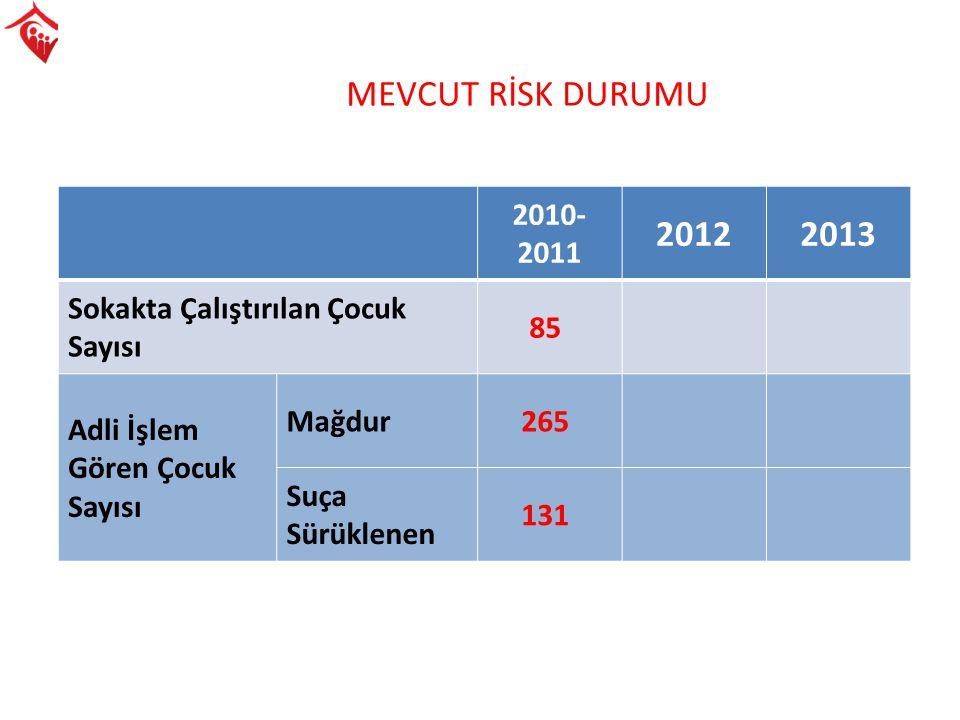 MEVCUT RİSK DURUMU 2010- 2011 20122013 Sokakta Çalıştırılan Çocuk Sayısı 85 Adli İşlem Gören Çocuk Sayısı Mağdur265 Suça Sürüklenen 131