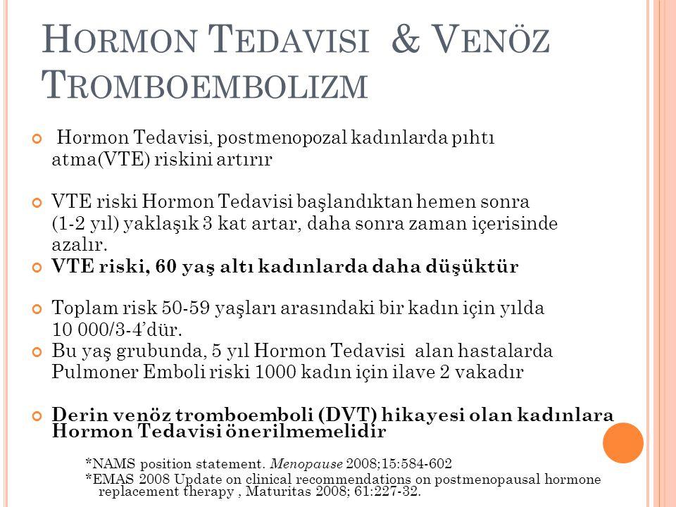 H ORMON T EDAVISI & V ENÖZ T ROMBOEMBOLIZM Hormon Tedavisi, postmenopozal kadınlarda pıhtı atma(VTE) riskini artırır VTE riski Hormon Tedavisi başland