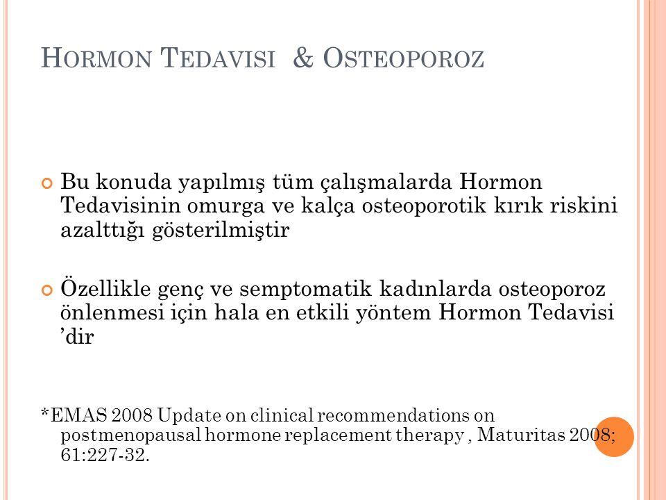 H ORMON T EDAVISI & O STEOPOROZ Bu konuda yapılmış tüm çalışmalarda Hormon Tedavisinin omurga ve kalça osteoporotik kırık riskini azalttığı gösterilmi
