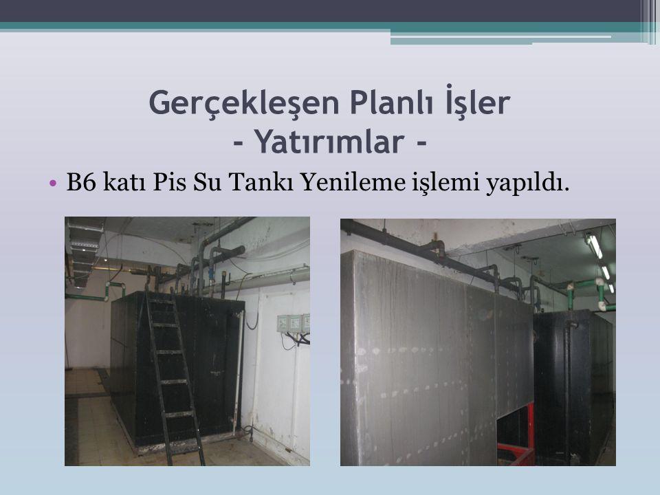 Gerçekleşen Planlı İşler - Yatırımlar - •B6 katı Pis Su Tankı Yenileme işlemi yapıldı.