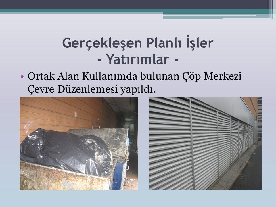 Gerçekleşen Planlı İşler - Yatırımlar - •Ortak Alan Kullanımda bulunan Çöp Merkezi Çevre Düzenlemesi yapıldı.