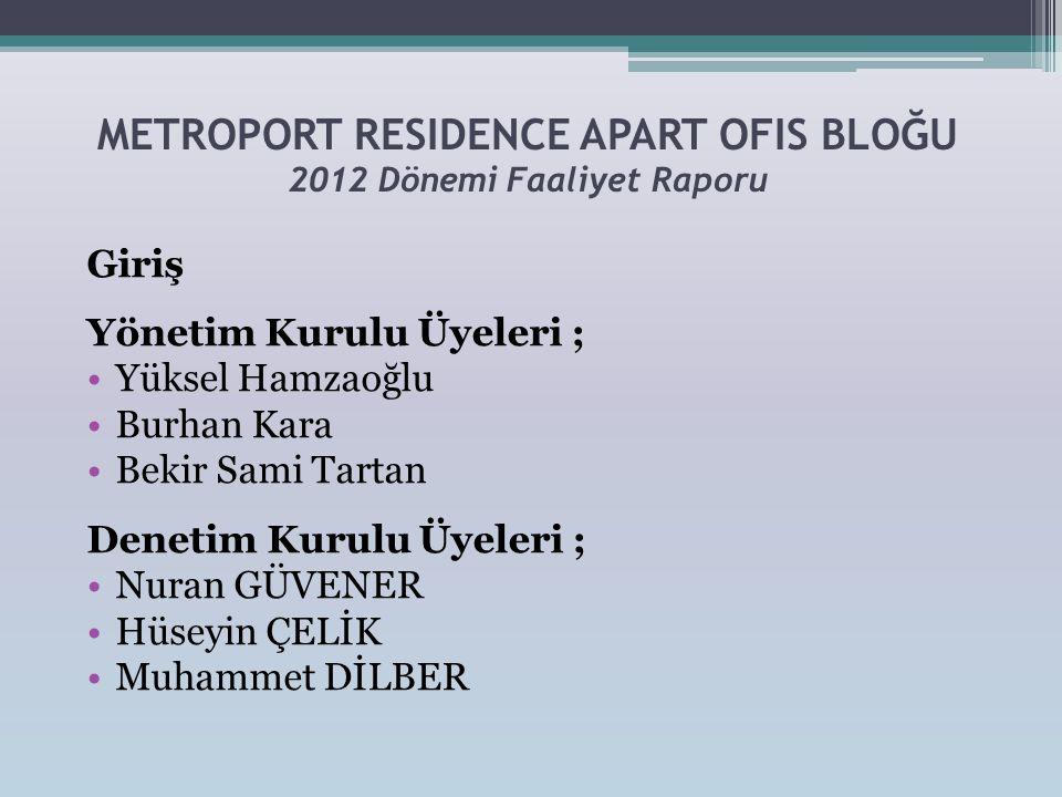 METROPORT RESIDENCE APART OFIS BLOĞU 2012 Dönemi Faaliyet Raporu Giriş Yönetim Kurulu Üyeleri ; •Yüksel Hamzaoğlu •Burhan Kara •Bekir Sami Tartan Dene