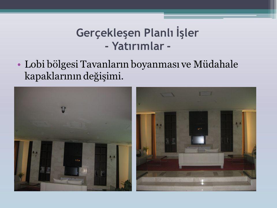 Gerçekleşen Planlı İşler - Yatırımlar - •Lobi bölgesi Tavanların boyanması ve Müdahale kapaklarının değişimi.