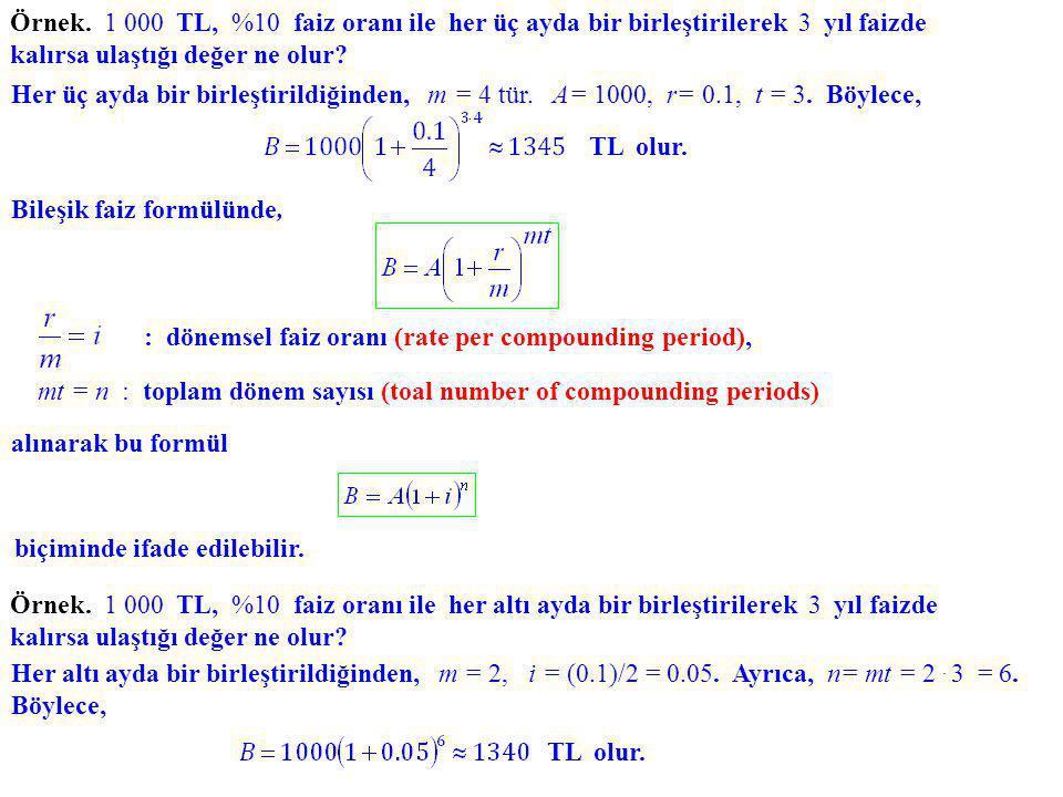 Bileşik faiz formülünde, : dönemsel faiz oranı (rate per compounding period), mt = n : toplam dönem sayısı (toal number of compounding periods) alınar