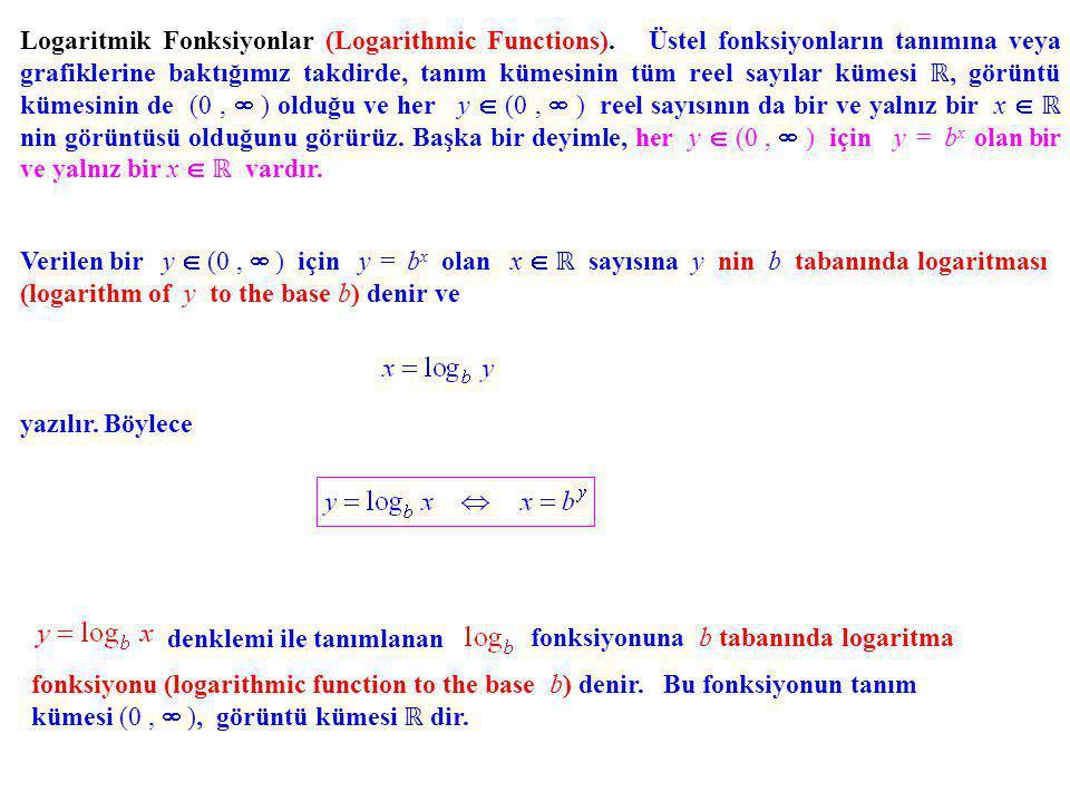 Logaritmik Fonksiyonlar (Logarithmic Functions). Üstel fonksiyonların tanımına veya grafiklerine baktığımız takdirde, tanım kümesinin tüm reel sayılar