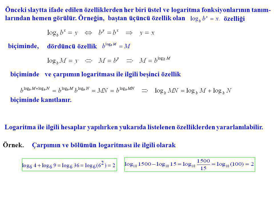 Önceki slaytta ifade edilen özelliklerden her biri üstel ve logaritma fonksiyonlarının tanım- larından hemen görülür. Örneğin, baştan üçüncü özellik o
