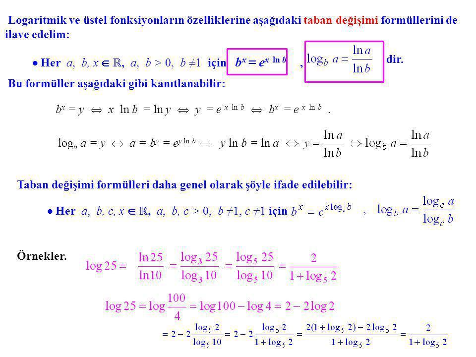 Logaritmik ve üstel fonksiyonların özelliklerine aşağıdaki taban değişimi formüllerini de ilave edelim:  Her a, b, x  ℝ, a, b > 0, b ≠1 için b x = e