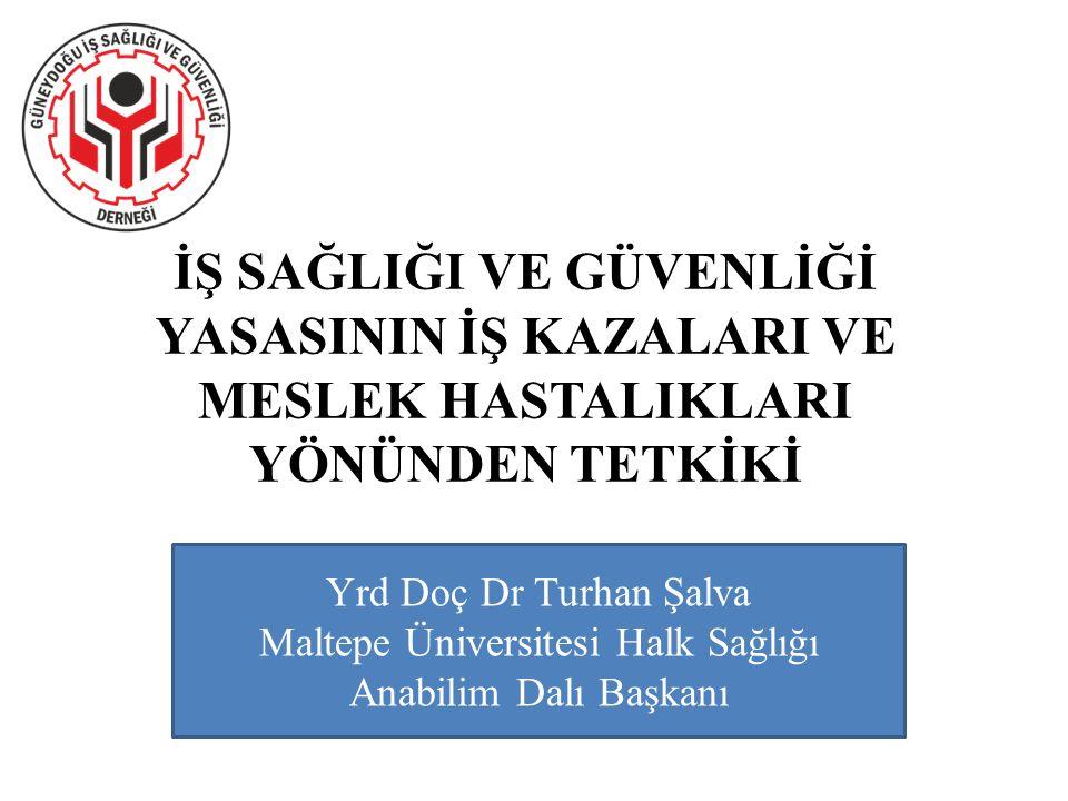 İŞ SAĞLIĞI VE GÜVENLİĞİ YASASININ İŞ KAZALARI VE MESLEK HASTALIKLARI YÖNÜNDEN TETKİKİ Yrd Doç Dr Turhan Şalva Maltepe Üniversitesi Halk Sağlığı Anabil