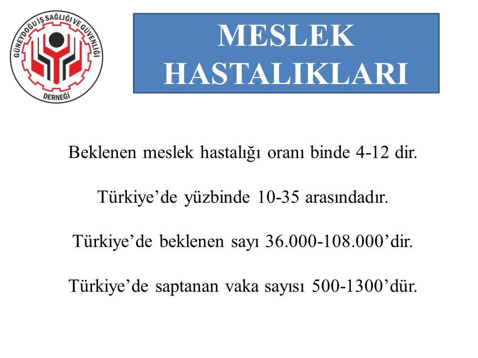 Beklenen meslek hastalığı oranı binde 4-12 dir. Türkiye'de yüzbinde 10-35 arasındadır. Türkiye'de beklenen sayı 36.000-108.000'dir. Türkiye'de saptana